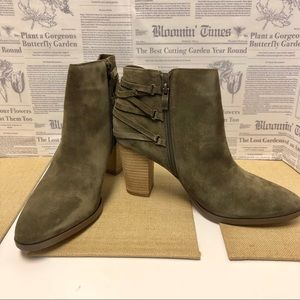 Michael Shannon Olive Suede Ankle Booties Sz. 11
